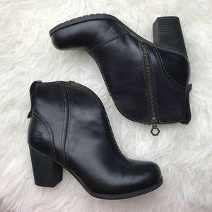 timberland • black leather trenton heeled booties